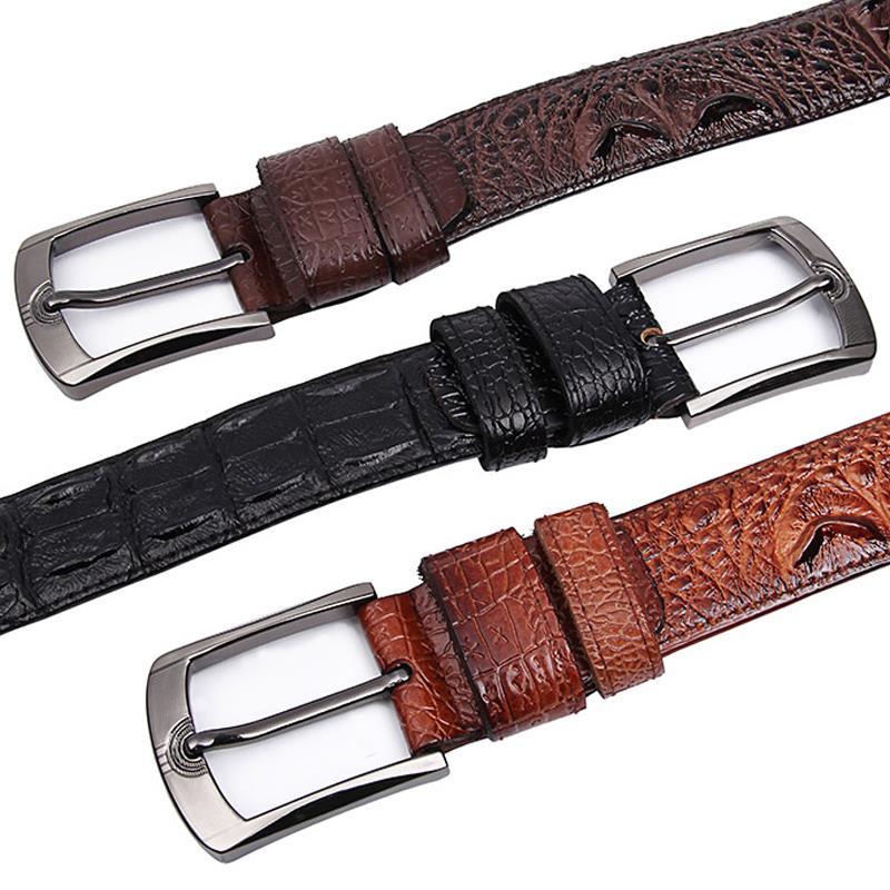 Mode Véritable ceintures en cuir pour hommes Large De Luxe Designer  crocodile Broches boucle homme ceinture c7cd80ba6d2