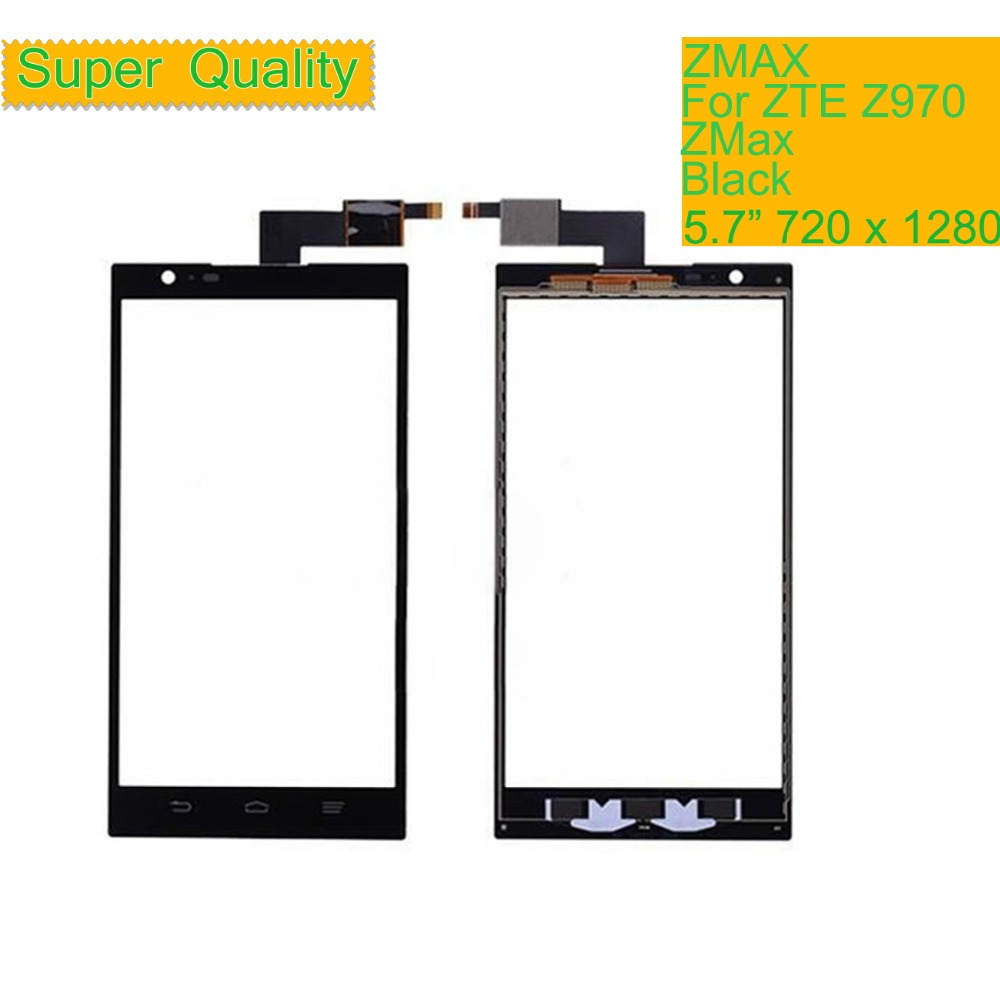 10Pcs lot Touch Screen Digitizer For ZTE ZMAX Z970 970 Touch Panel Touchscreen Lens Front Glass Sensor NO LCD Z970 Replacement in Mobile Phone Touch Panel from Cellphones Telecommunications