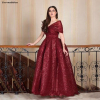 Luxury Burgundy Lace Sequins Mother Of The Bride Dresses 2019 A Line Bride Mother Wedding Party Dresses robe de mariee