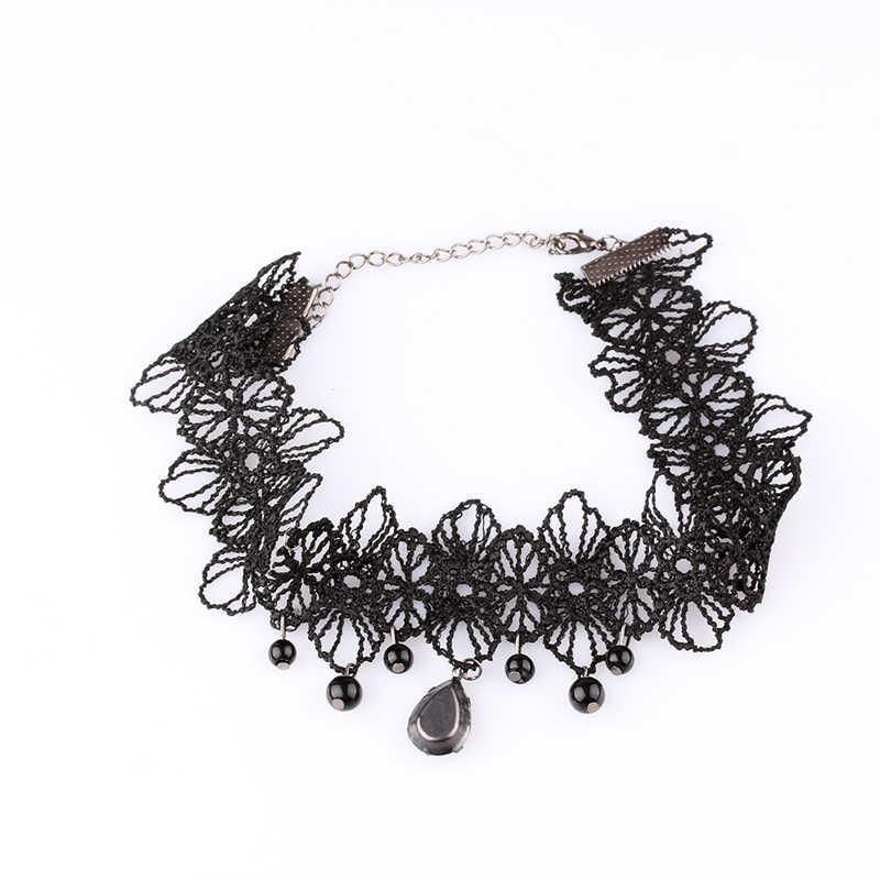 Nouveau Style gothique Punk fleur dentelle frappant court collier ras du cou perles chaîne pendentif Rose décorer bijoux