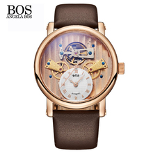 ANGELA BOS Unique Gear 3D Skeleton Automatic Mechanical Mens Watches Top Brand Luxury Watch Waterproof Stainless