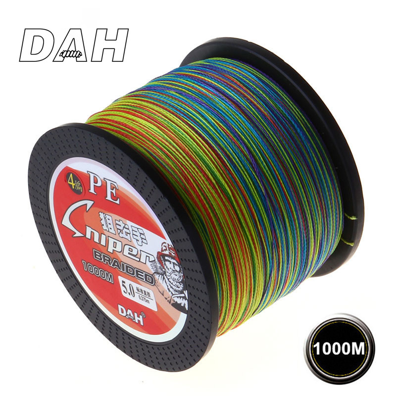 DAH 1000M PE flätad fiskelinje 4 Strands Wire Super Strong Japan Multifilament Flätad Linje Carp Fishing Rope 20LB-100LB