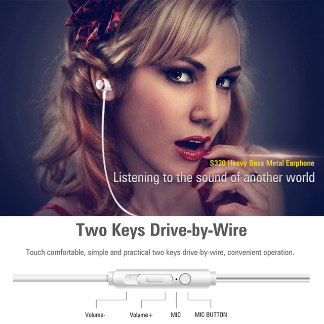 S320 Stereo Bass Headphone In-Ear 3.5MM Wired Earphones Metal HIFI Earpiece with MIC for Xiaomi Samsung Huawei Phones 2