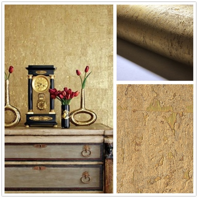 2018 Material Interior Decoration Wallcovering Gold Cork Wallpaper