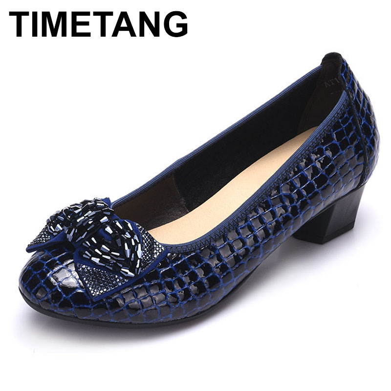 TIMETANG  2017 Fashion Spring Thick Heels Women Pumps Genuine Leather Wedges Work Shoes Woman High Heels Casual Women Shoes
