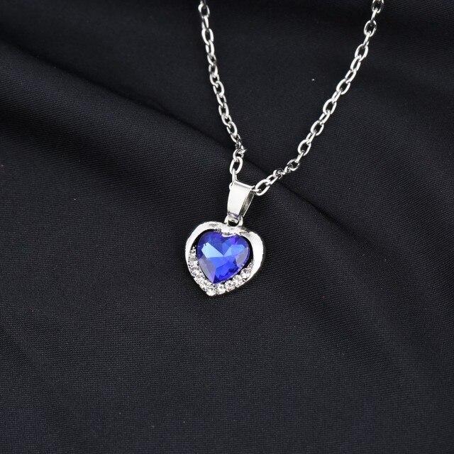 Elegant Classic Zircon Glass Ocean Heart Shape Dark Blue Crystal Necklaces & Pendants Statement Chain Necklace Woman Jewelry 4