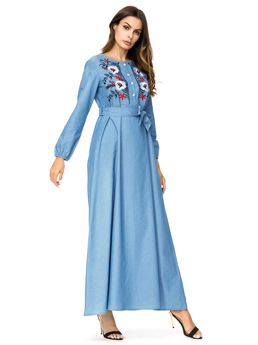 Fashion Flower Embroidery Denim High Waist Dress women plus size maxi  dresses Bow slim sashes Empire swing dress Arab Muslim 4XL-in Islamic  Clothing from ... e8ef0b2c53c7