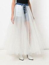 цена на Runway Women Long Maxi Skirt Jeans Tutu Tulle Splice Pleated Mesh Ball Gown Skirt Fashion Designer Luxury Ladies Denim Skirt