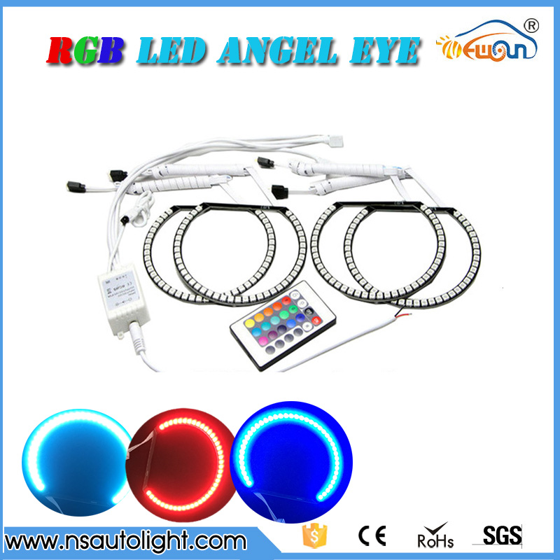 E46 non-projector RGB led angel eyes lighting car headlight 131mm & 145mm rgb led marker angel eyes ring led rings white 3014 smd led angel eyes headlight halo ring marker 131mm 145mm for bmw e46 non projector