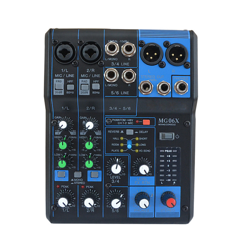 OLOEY MG06X 6 Input Stereo Mixer with SPX Effects W/ 2 XLR Mic Cable 6-Input Compact