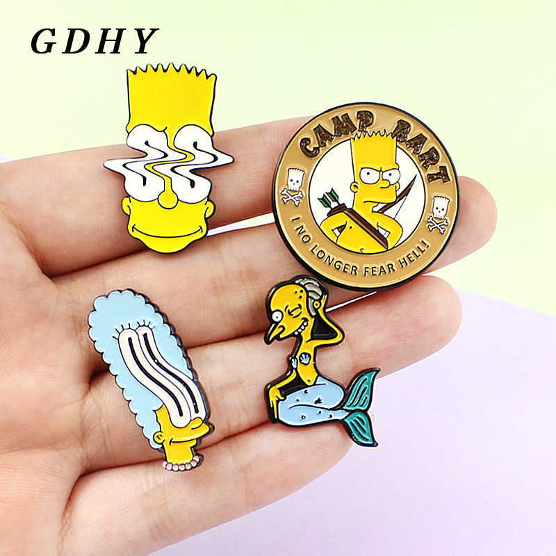 GDHY La Famiglia Simpson Spilli Brooch Dello Smalto Mr Burns Bart Simpson Marge Simpson Serie Anime Risvolto Spille Button Badge Per bambini
