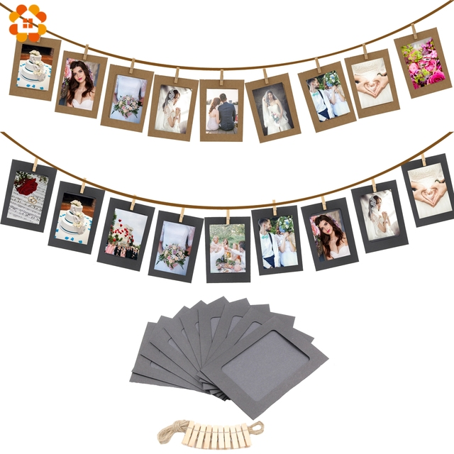 10PCS/set DIY Photo Frame Wooden Clip Paper Picture Garland For Wedding  Baby Shower Birthday Party Photo Booth Props Decoration