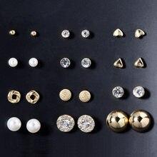 12 пар/комплект женские круглые серьги гвоздики