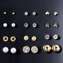 wing yuk tak 12 pairs sets Stud Earring Fashion Classic Round Square Ball Crystal Earrings Sets