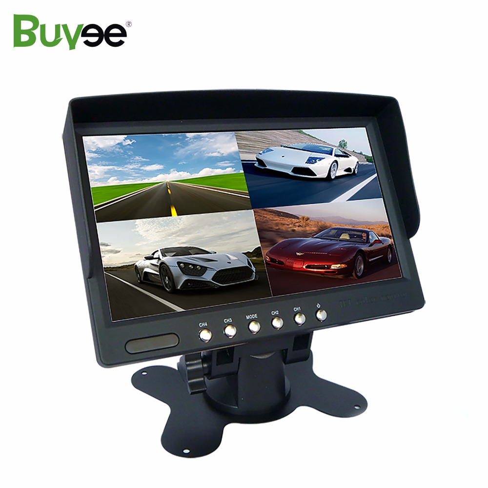 Buyee 7 inch TFT LCD Car reversing Rearview display Monitor 1/ 2/ 4 Split Screen for Car Parking Rear View Camera 4 AV inputs buyee 7 inch tft lcd car reversing rearview display monitor 1 2 4 split screen for car parking rear view camera 4 av inputs