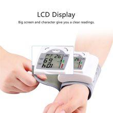 Monitor automático Digital LCD para el cuidado de la salud, Monitor de presión arterial para muñeca, medidor de pulso y ritmo cardíaco, medida blanca, nuevo
