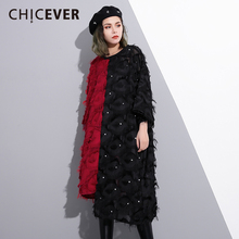 CHICEVER 2018 Spring Women Dress Female Patchwork Tassel Wrist Sleeve Loose Women's Dresses Of The Big Size Clothes Fashion New