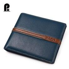 2016 Pacento Männer Brieftaschen Luxus Leder Echtes Marke Famous Design Striped Blau Kurz Männlichen Geldbörse Karte Clip Portfolio Mann
