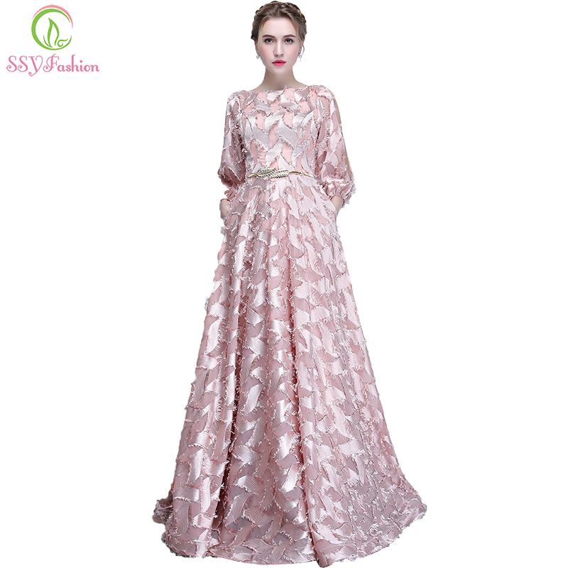 SSYFashion New Simple Evening Gown The Bride Long Sleeved Pink Elegant Banquet Long Party Formal Dresses