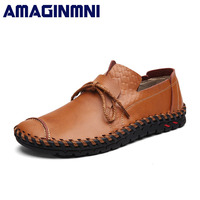 AMAGINMNI Breathable Mens Casual Shoes Genuine Leather Brand Fashion Shoes Men Soft Comfortable Rubber Sole Plus