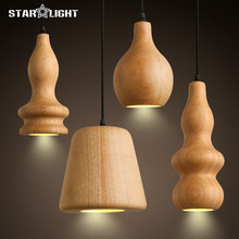 Contemporary art Wood Pendant Lights Dining Room Pendant Lamps Modern LED Restaurant Coffee Bedroom Lighting