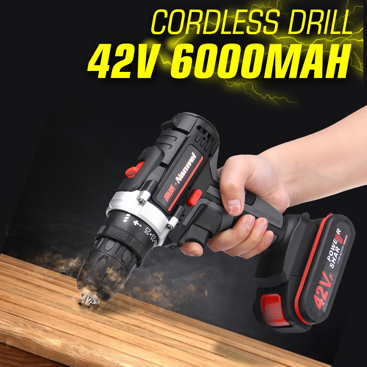 42V 6000mAh Rechargeable Lithium Battery Double Speed Cordless Drill Household Electric Drill Wrench Powerful Driver Power Tools42V 6000mAh Rechargeable Lithium Battery Double Speed Cordless Drill Household Electric Drill Wrench Powerful Driver Power Tools