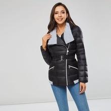 Winter Women Parkas Cotton Warm Thick Short Jacket Coat with Belt