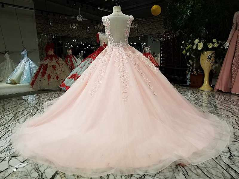a7a8f1178d8e8 Pretty Pink Floral Puffy Prom Dresses 2018 Appliques Pearls Long ...