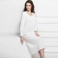 European Palace Lady Nightgown Fashion New Cotton Long Sleeved Big Yards Long Leisurewear Leisure Comfortable White Women Dress