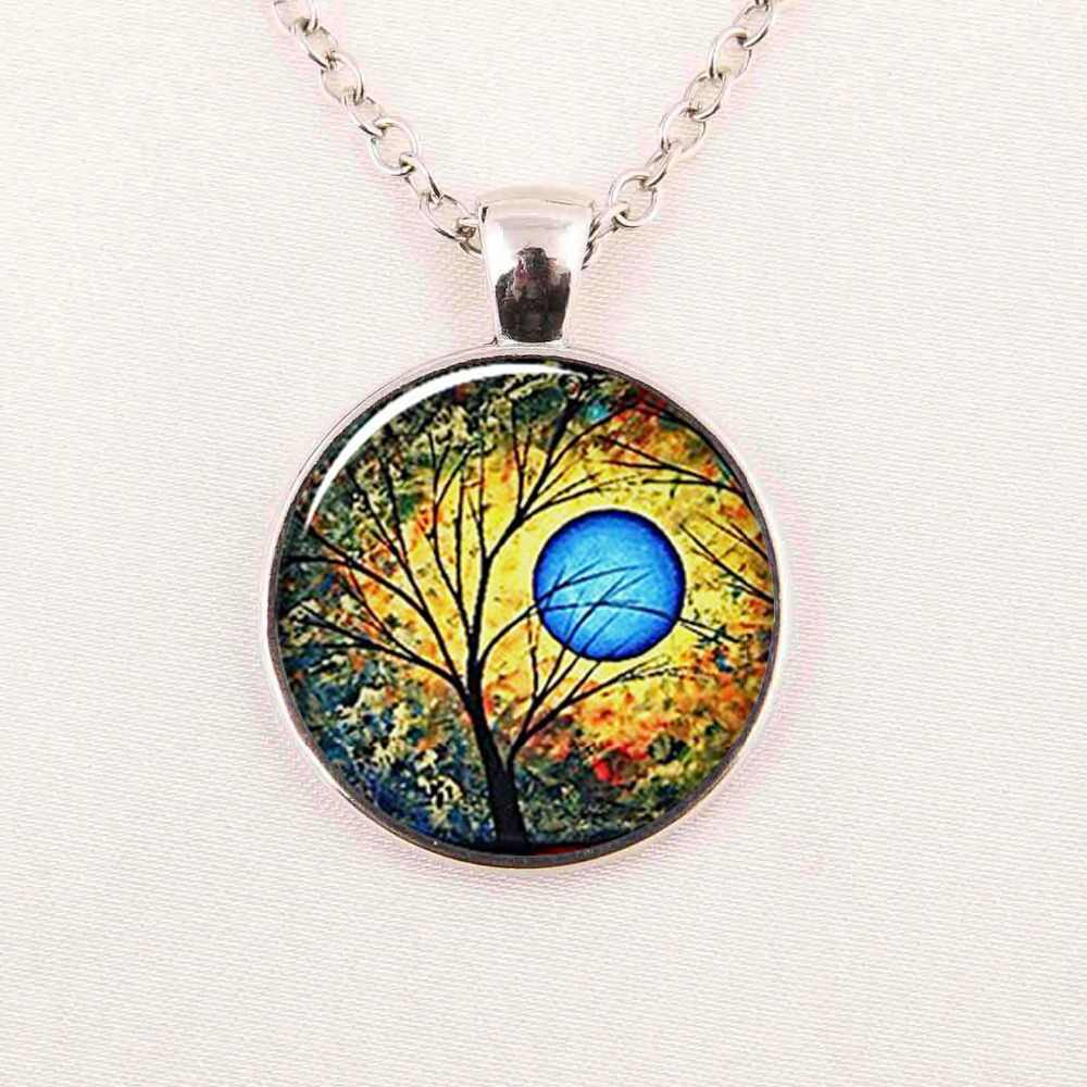 Weeping Willow Tree Necklace Photo Pendant Jewelry Altered Art Gl Dome Cabochon