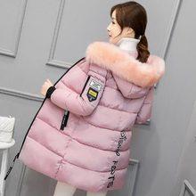 2017 Long Parkas Women Winter Coat Large Fur Collar Jacket Female Warm Outwear Thin Padded Cotton Jacket Coat Womens Clothing