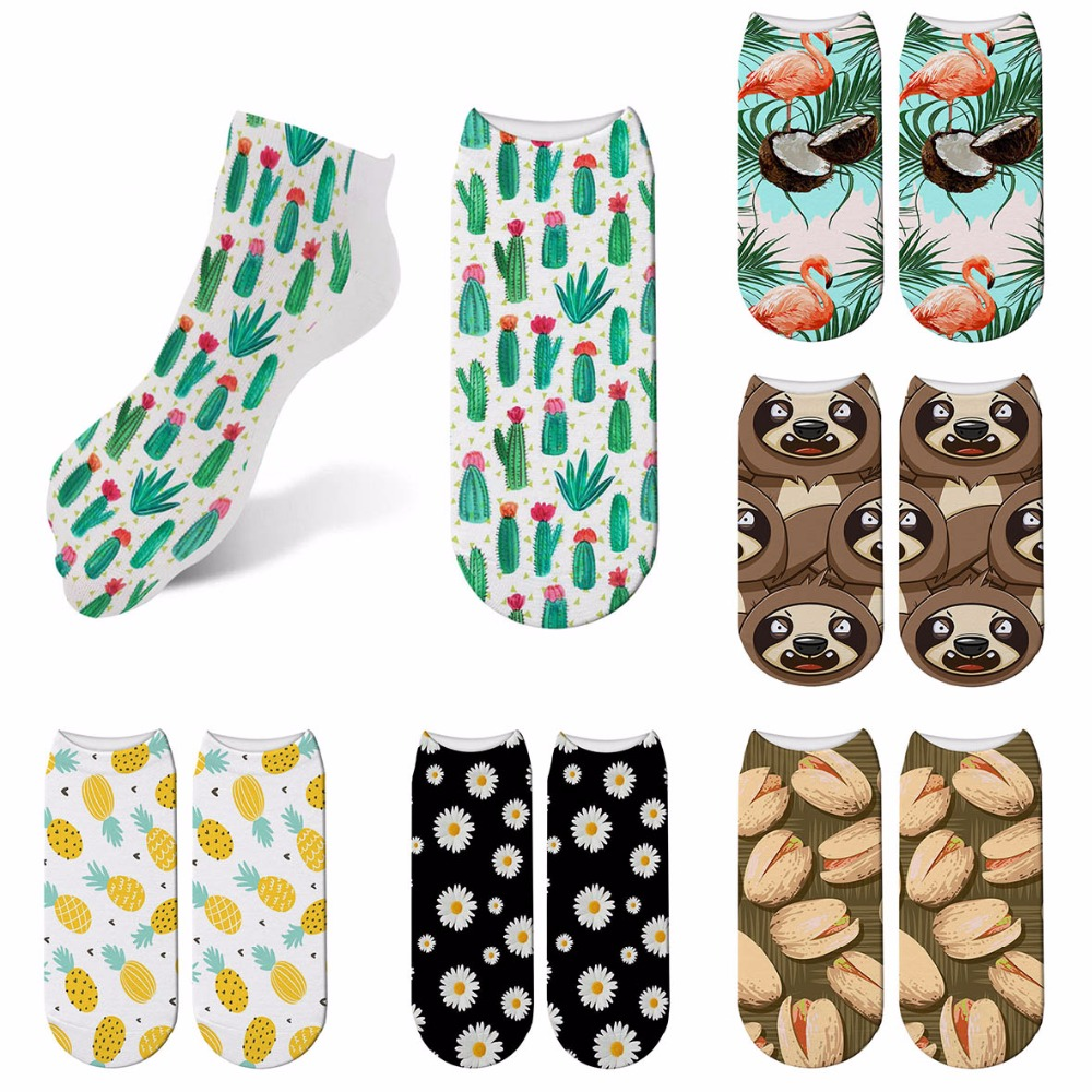 Fashion Colorful Happy Socks Women Cartoon Sloth Plants Soft Breathable Cotton Short Socks Casual Funny Socks Female 7ZJQ-ZAS02
