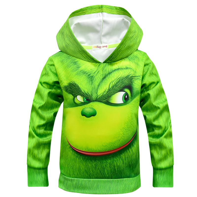 New Green Cosplay Costume Casual Sweatshirt Boy Christmas Carnival Long Sleeve Costume Children Sweater Boy Streetwear