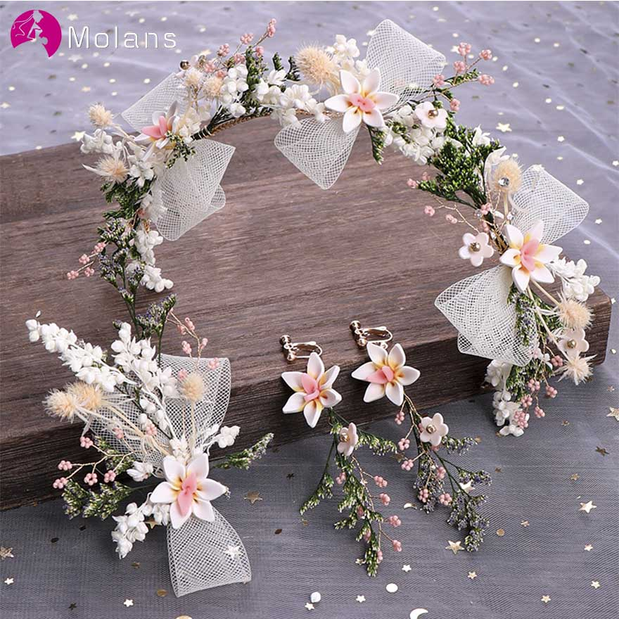 MOLANS One Set Mori Style Yarn Flower Blossom Hairband Suit For Bride Wedding Hair Accessories Handmade Mesh Bow Alloy Hairpins
