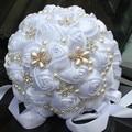 Free Shipping European American Popular Pure White Bride Holding Flowers Adorn Pearls Diamond Ribbon Rose Wedding Bouquet W225