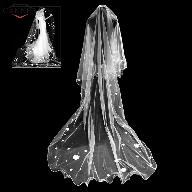 280cm White Cathedral Wedding Veils Long Appliques Flower Heart Bridal Veils Women Wedding Accessories Gifts H40