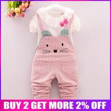 BibiCola baby Spring Girls Clothing Sets Baby Girls tops+Overalls Pants baby girl Clothes Sets infant Girl Clothing bebe clothes