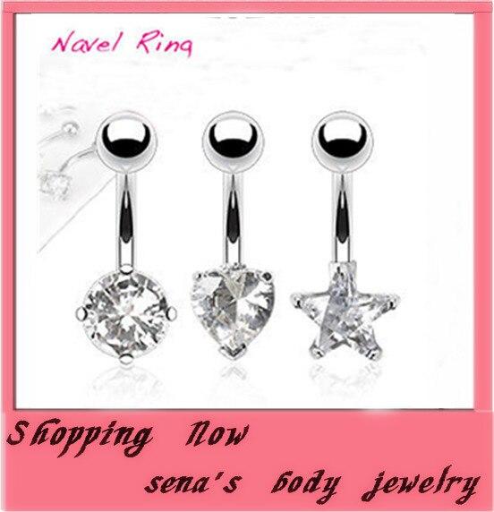משלוח חינם 24 יח'\חבילה לערבב 3 סגנון כוכב תכשיטי האופנה פירסינג נקה CZ קריסטל טבעת בטן טבור