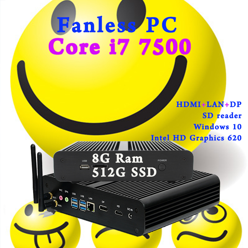 Mini PC 7th Gen Core i7 7500U Fanless Intel HD Graphics 620 Windows 10 300M Wifi Kaby Lake Desktop Computer 8GB Ram 512GB SSD partaker 7th gen intel core i7 7500u kaby lake mini pc ddr4 ram windows 10 micro pc 4k htpc linux kodi