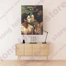 Cartoon Poster Print Kissing Couple Underwater Wall Art Picture for Living Room Hallway Home Decor Romatic Lover Artwork Retail