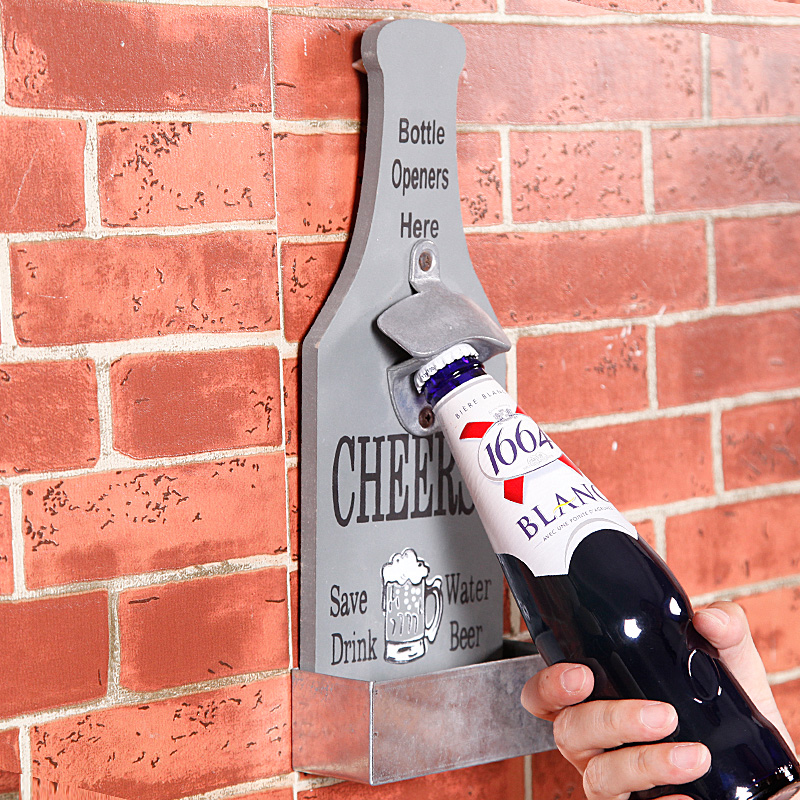 купить Creative Open Beer Bottle Opener Wall Act Role Ofing American Retro Bar Hanging Nostalgic Kitchen Soft Accessories по цене 1593.86 рублей