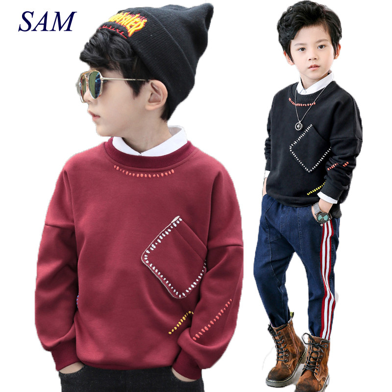 Boys long sleeve t shirt sweatshirt children's fashion oblique pocket autumn and spring warm clothes kids shirt tops outwear pocket front shirt dress