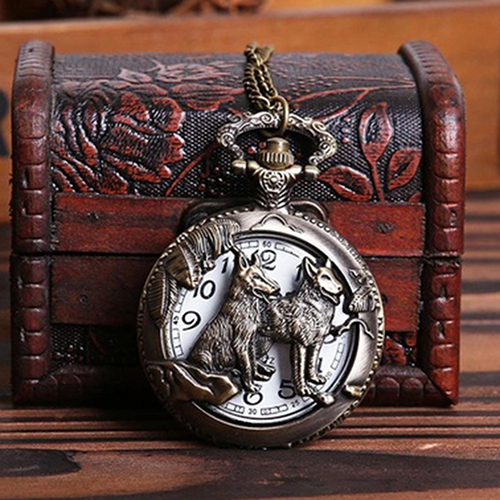 Ретро Винтаж Hollow Волк Цветок Резные Кулон Ожерелье Кварцевые Карманные Часы