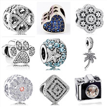 Btuamb New Arrival Camera Tree Love Heart Starfish Flower Crystal Beads Fit Women Pandora Charm Bangles Necklaces Making Jewelry(China)