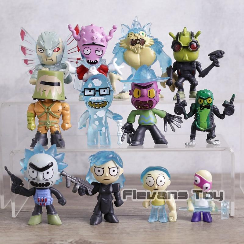 12 unids/set Rick y Morty figura muñeca Rick Morty Pickle Rick pepino PVC figura de acción juguetes modelo para niños regalos