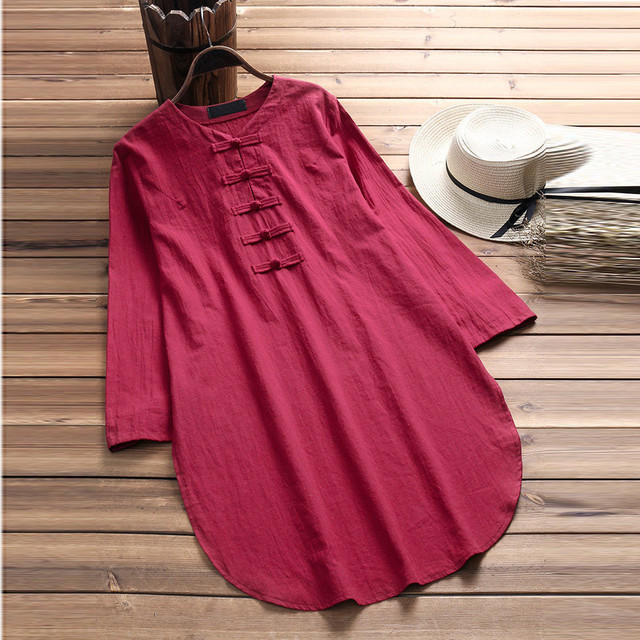 Plus Size 5XL Womens Tops and Blouses 2018 Harajuku Linen Vintage Long Sleeve Long Shirts Tunic Ladies Top Woman Clothes  2