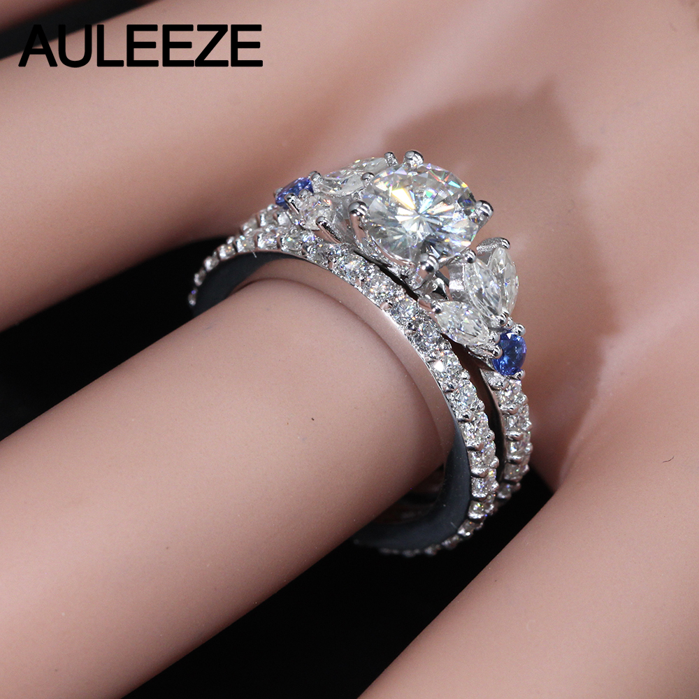 Unique Trendy 1CT Moissanites Bridal Set 14K White Gold Engagement ...