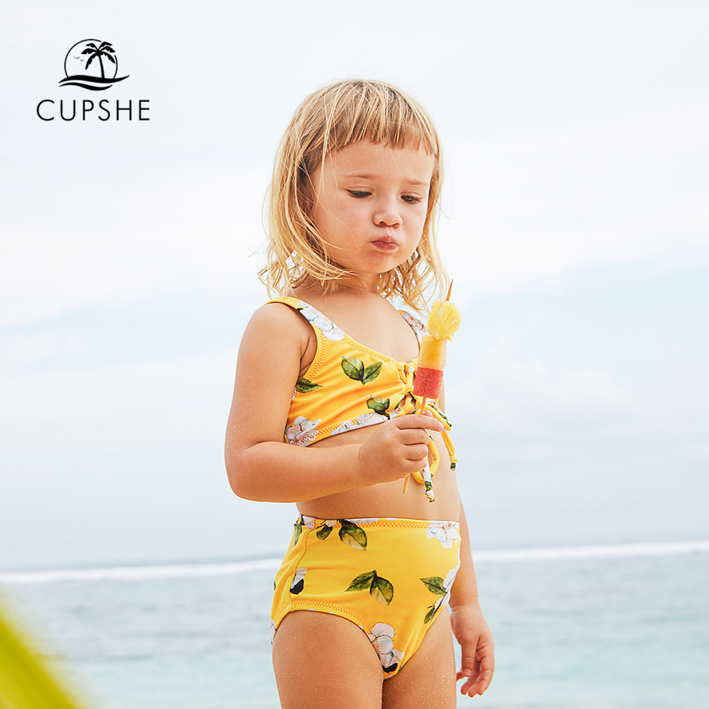 CUPSHE 2019 Toddler Girls Kids Baby Yellow Floral Printed Front Tie Bikini  CUPSHE 2019 Toddler Girls Kids Baby Yellow Floral Printed Front Tie Bikini
