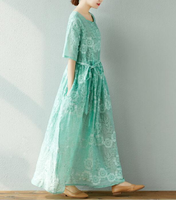 Ramie Robes Taille Plus Long Embroideried Été Lin De Femmes La TH4dqwU