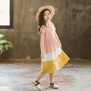 Image 4 - Vestidos infantiles para niñas 2020 nuevo vestido de algodón para bebés traje informal para madre e hija vestido de ocio para niños pequeños ropa de adolescentes, #5080